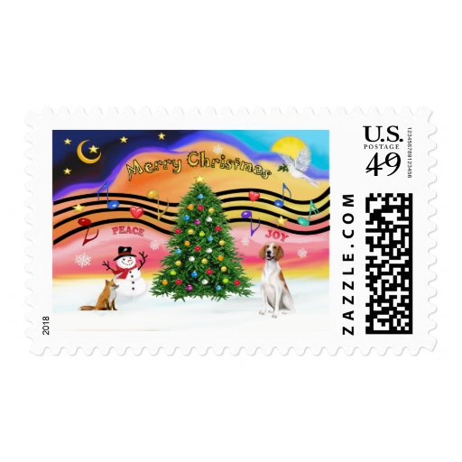 Christmas Music 2 - American Foxhound (with fox) Stamp