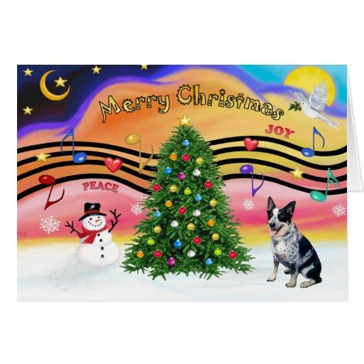 Christmas Music 2 - Australian Cattle Dog 1 Greeting Cards