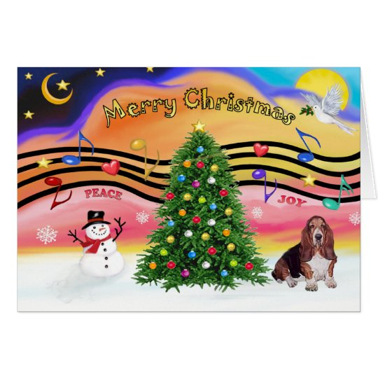 Christmas Music 2 - Basset Hound Card