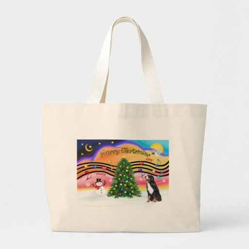 Christmas Music 2 - Bernese Mountain Dog Bags