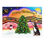Christmas Music 2 - Bernese Mountain Dog Postcard