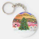 Christmas Music 2 - Bichon Frise (two) Key Chain