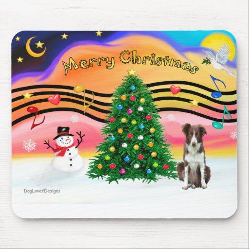 -Christmas Music 2 - Border Collie (brown-white) Mouse Mats