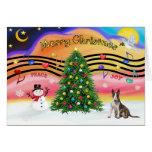 Christmas Music 2 - Bull Terrier (brindle) Greeting Card