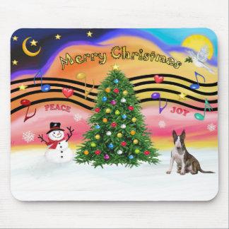 Christmas Music 2 - Bull Terrier (brindle) Mouse Mat