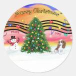Christmas Music 2 - Cavalier (Blenheim F) Round Stickers