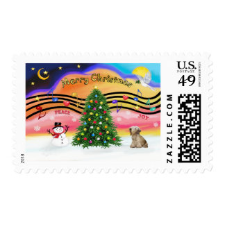 Christmas Music 2 - Cesky Terrier (light coffee) Postage Stamp