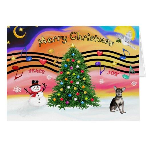 Christmas Music 2 - Chihuahua (blue & cream) Card