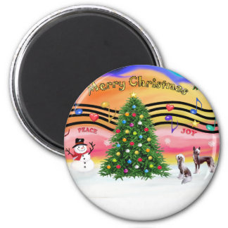 Christmas Music 2 - Chinese Crested (2 HL) Refrigerator Magnet