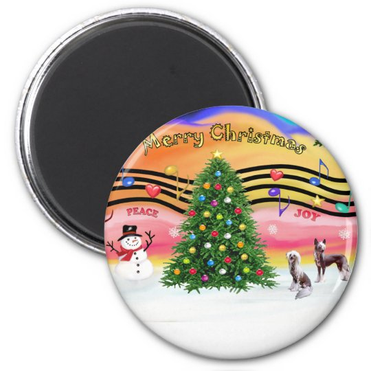Christmas Music 2 - Chinese Crested (2 HL) Magnet