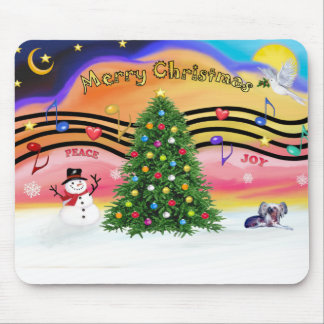 Christmas Music 2 - Chinese Crested (ld) Mouse Pad