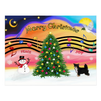 Christmas Music 2 - Chinese Crested (Puff-BW) Postcard
