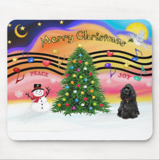 Christmas Music 2 - Cocker Spaniel (black) Mouse Pad