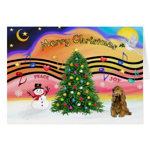 Christmas Music 2 - Cocker Spaniel (brown) Greeting Card
