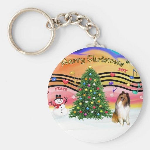 Christmas Music 2 - Collie 1 Basic Round Button Keychain
