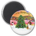 Christmas Music 2 - Collie 1 Refrigerator Magnets