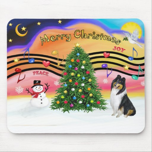 Christmas Music 2 - Collie (Tri) Mouse Pad