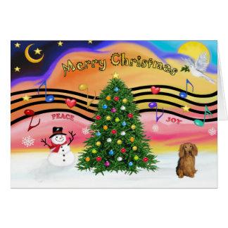 Christmas Music 2 - Dachshund (long haired sable) Card
