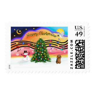 Christmas Music 2 - Dachshund (long haired sable) Postage Stamps