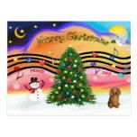 Christmas Music 2 - Dachshund (long haired sable) Post Card