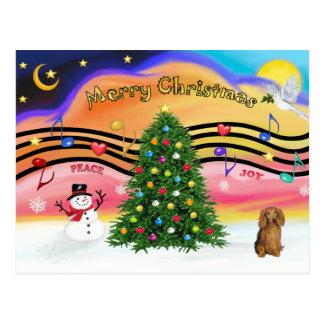 Christmas Music 2 - Dachshund (long haired sable) Postcard