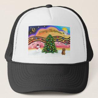 Christmas Music 2 - Dachshund (long haired sable) Trucker Hat