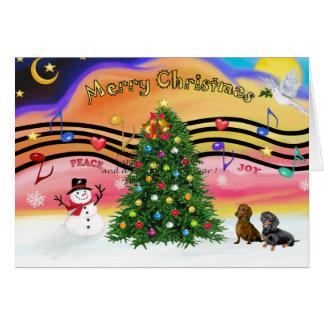 Christmas Music 2 - Dachshunds (two) Greeting Card