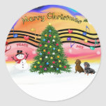 Christmas Music 2 - Dachshunds (two) Classic Round Sticker