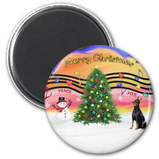 Christmas Music 2 - Doberman 1 Magnet