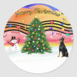 Christmas Music 2 - Doberman 1 Round Sticker