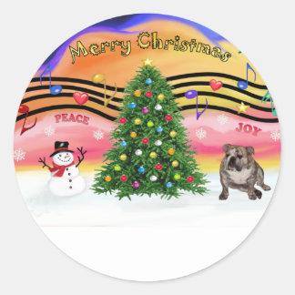 Christmas Music 2 - Engilsh Bulldog (brindle 4) Round Sticker