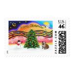 Christmas Music 2 - English Bulldog (brown-white) Postage Stamp