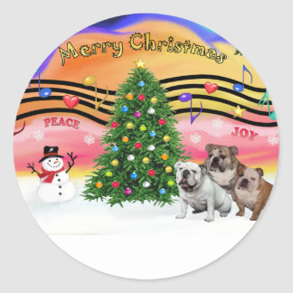 Christmas Music 2 - English Bulldogs (three) Round Sticker
