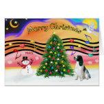 Christmas Music 2 - English Springer (BW) Greeting Cards