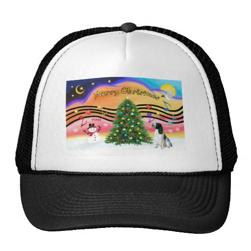 Christmas Music 2 - English Springer (BW) Trucker Hats