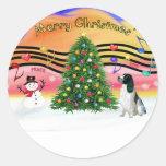 Christmas Music 2 - English Springer (BW) Sticker