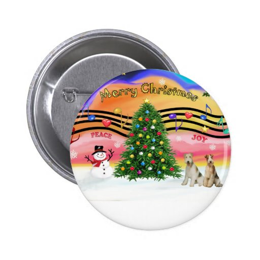 Christmas Music 2 - Fox Terriers (two Wire Haired) Button