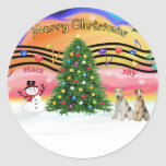 Christmas Music 2 - Fox Terriers (two Wire Haired) Round Stickers