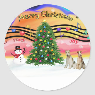 Christmas Music 2 - Fox Terriers two Wire Haired Round Stickers