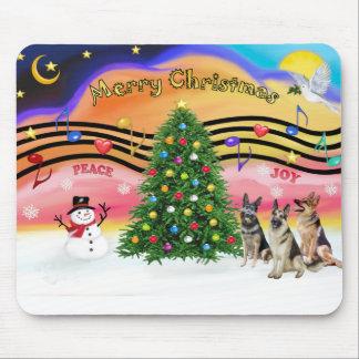 Christmas Music 2 - German Shepherds (three) Mouse Pad