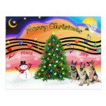 Christmas Music 2 - German Shepherds (three) Post Cards