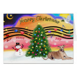 Christmas Music 2 - Geryhound (fawn, ld) Greeting Card