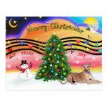 Christmas Music 2 - Geryhound (fawn, ld) Postcard