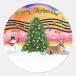 Christmas Music 2 - Geryhound (fawn, ld) Sticker