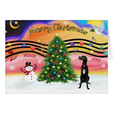 Christmas Themed Christmas Music 2 - Great Dane (black uncropped) Card