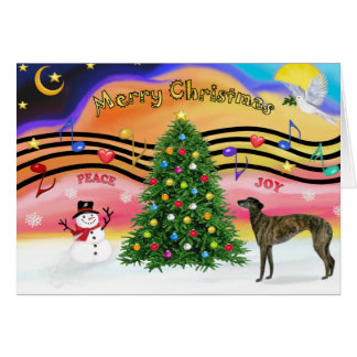Christmas Music 2 - Greyhound (brindle 8) Card