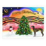 Christmas Music 2 - Greyhound (brindle 8) Post Card