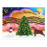Christmas Music 2 - Irish Setter Postcard