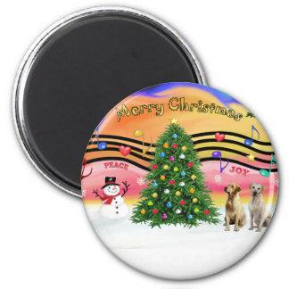 Christmas Music 2 - Labrador Retrievers (2 Yellow) Magnet