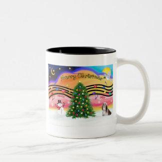 Christmas Music 2 - Lhasa Apso (Brown-white) Two-Tone Coffee Mug